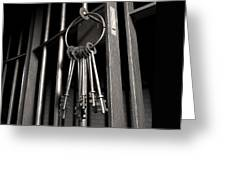 Jail Cell With Open Door And Bunch Of Keys Greeting Card