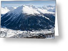 Jakobshorn Davos Mountains And Town Switzerland Greeting Card