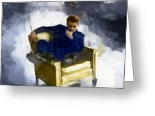 James Dean In Yellow Leather Chair Greeting Card
