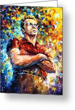 James Dean - Palette Knife Oil Painting On Canvas By Leonid Afremov Greeting Card