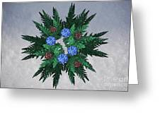 Jammer Blue Red Snow Wreath Greeting Card