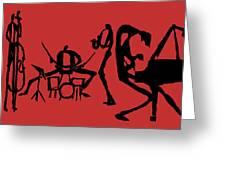 Jammin Jazz On Red Greeting Card