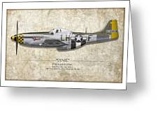 Janie P-51d Mustang - Map Background Greeting Card