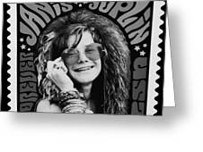 Janis Stamp In A Black And White Vibe Greeting Card