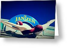 Jantzen Girl Greeting Card by Gail Lawnicki