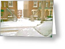 January Winter Street Winding Snow Covered Staircase Montreal Art Verdun Duplex Painting Cspandau Greeting Card