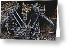Jap Motorcycle Engine Digital Art Greeting Card