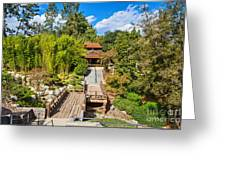Japan In Pasadena - Beautiful View Of The Newly Renovated Japanese Garden In The Huntington Library. Greeting Card