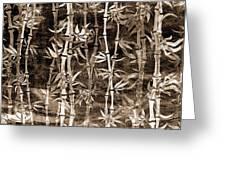 Japanese Bamboo Sepia Grunge Greeting Card
