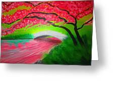 Japanese Blossoms Greeting Card by Haleema Nuredeen