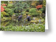 Japanese Bronze Cranes Sculpture By Pond Greeting Card