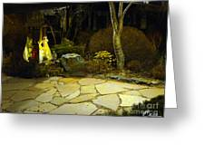 Japanese Garden Simple Shrine Lit At Night 01 Greeting Card