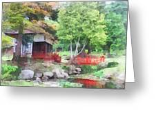 Japanese Garden With Red Bridge Greeting Card