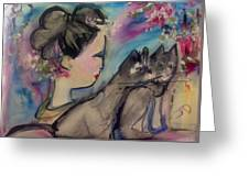 Japanese Lady And Felines Greeting Card