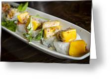 Japanese Sushi Rolls With Mango Greeting Card