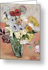 Japanese Vase With Roses And Anemones Greeting Card