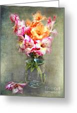 Jar Of Gladiolas Greeting Card