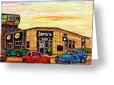Java U Cafe Jean Talon Car Wash Coffee Shop Depanneur Montreal Art Sale Cspandau                     Greeting Card