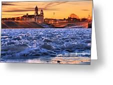 Jay Street Bridge Winter Panorama Greeting Card