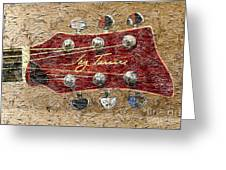 Jay Turser Guitar Head - Red Guitar - Digital Painting Greeting Card by Barbara Griffin