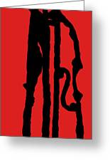 Jazz Bass In Red Greeting Card