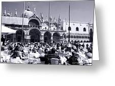 Jazz In Piazza San Marco Black And White  Greeting Card