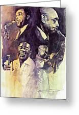 Jazz Legends Parker Gillespie Armstrong  Greeting Card