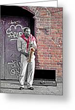 Jazz Man - Street Performer Greeting Card