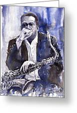 Jazz Saxophonist John Coltrane Blue Greeting Card