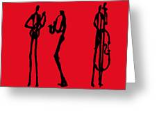 Jazz Trio In Red 2 Greeting Card
