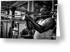 Jazzy Trombone Music-bw Greeting Card