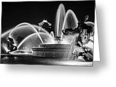 J.c. Nichols Memorial Fountain - Night Bw Greeting Card