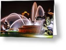 J.c. Nichols Memorial Fountain - Night Greeting Card
