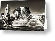 Jc Nichols Memorial Fountain Bw 1 Greeting Card