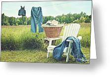 Jeans Hanging On Clothesline On A Summer Afternoon Greeting Card
