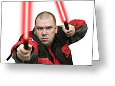 Jedi Master Randall M Rueff And Lightsaber Thirty Four Greeting Card
