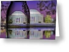 Jefferson Memorial In A Bottle Greeting Card by Susan Candelario