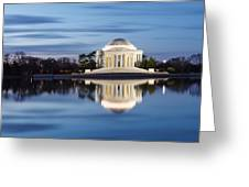 Washington Dc Jefferson Memorial In Blue Hour Greeting Card