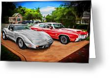Jeffs Cars Corvette And 442 Olds Greeting Card