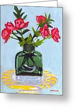 Jeff's Vase And Rodger's Roses Greeting Card