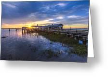 Jekyll Island Sunset Greeting Card by Debra and Dave Vanderlaan