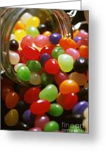 Jelly Beans Spilling Out Of Glass Jar Greeting Card