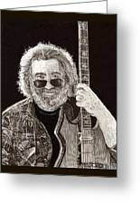 Jerry Garcia String Beard Guitar Greeting Card