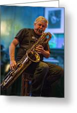 Jerry Logas On Baratone Sax Greeting Card