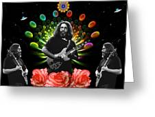 Jerry Spacepods Triple Jerry Ufo Roses Under Cosmic Sun Greeting Card