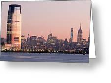 Jersey City And New York City  With Manhattan Skyline Over Hudso Greeting Card