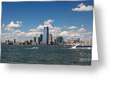 Jersey City Skyline From Harbor Greeting Card