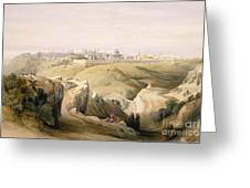 Jerusalem From The Mount Of Olives Greeting Card by David Roberts