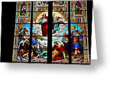 Jesus Angels Stained Glass Painting Inside Cologne Cathedral Germany Greeting Card