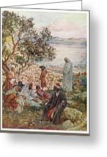 Jesus Feeds Five Thousand  People Greeting Card